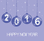 New Year decoration with glass balls. New Year 2016 background with glass balls Stock Photography