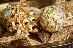 New Year decoration with golden carnival mask Royalty Free Stock Photos