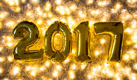 New year decoration golden 2017 stock photos