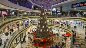New year decoration with a huge christmas tree in Vadistanbul shopping mall, istanbul, Turkey royalty free stock photos