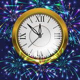 New Year decoration. Illustration of Christmas or New Year decoration with clock and colorful fireworks on blue background Stock Photography