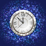 New Year decoration. Illustration of Christmas or New Year decoration with clock and colorful fireworks on blue background Royalty Free Stock Images