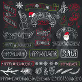 New year decoration labels,ribbons,lettering.Chalkboard. Christmas season decorations.New year Label, ribbons,spruce branches,lettering,snowflakes,snowman and Stock Image