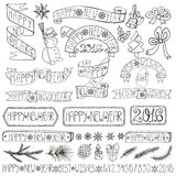 New year decoration labels,ribbons,lettering.Linear. Christmas season decorations.New year Label, ribbons,spurce branches,lettering,snowflakes,snowman and doodle Stock Illustration
