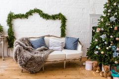 New Year decoration at living room interior Royalty Free Stock Photos