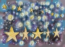 New Year decoration. Hanging stars and light bulbs. Hand drawn illustration digitally colored royalty free illustration