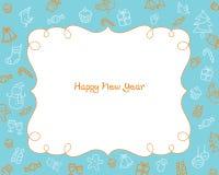 New Year Decoration Outline Icons Border, Blue Background Stock Photo