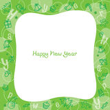 New Year Decoration Outline Icons Border, Green Background Royalty Free Stock Image