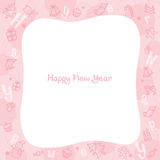 New Year Decoration Outline Icons Border, Pink Background Stock Image