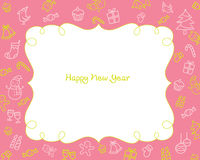 New Year Decoration Outline Icons Border, Pink Background Royalty Free Stock Image