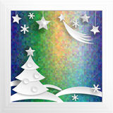 New Year decoration. Paper X-mas on psychodelic background. Royalty Free Stock Photo