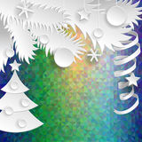 New Year decoration. Paper objects on psychodelic background. Royalty Free Stock Photography