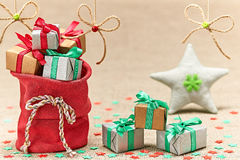 New Year 2015 decoration. Santa Clauss sack of presents Stock Image