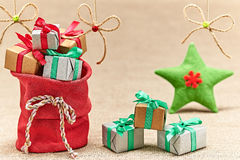 New Year 2015 decoration. Santa Clauss sack of presents Royalty Free Stock Images