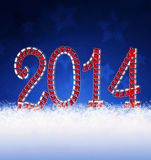 New year 2014 . New year 2014 decoration and snow Stock Photo