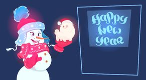 New Year 2018 Decoration Snowman Hold Cute Dog Symbol Of Holiday Greeting Card Royalty Free Stock Photo