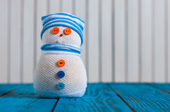 New year decoration, snowman in stripy with emty Stock Photo
