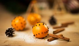New year decoration tangerines Stock Photos