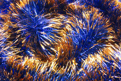 New Year decoration. The texture on the entire frame of the Christmas tinsel blue Royalty Free Stock Images
