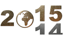 New year decoration, 2014 to 2015. A New year decoration in metallic gold and silver with 2014 disappearing with 2015 arriving Stock Photo