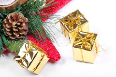 New year decoration tools on white. New year decoration tools, closeup on white Stock Image