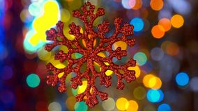 New Year decoration toy. With bokeh new year tree lights twinkling stock video footage