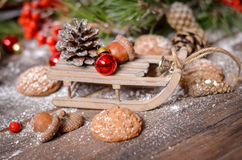 New Year Decoration with Vintage Wooden Sled Stock Image