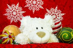 New Year Decoration, White bear, auspicious Ornaments and red envelope background. royalty free stock photos