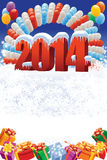 New Year 2014 decoration. New Year 2014 on white winter background with balloons and gifts Stock Photo