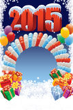 New Year 2015 decoration. New Year 2015 on white winter background with balloons and gifts Stock Images