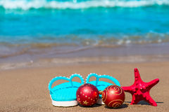 New year decorations on the beach Stock Images