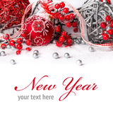 New Year Decorations. Beautiful New Year Decorations isolated on white background Stock Photos