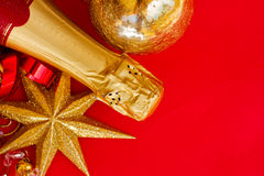 New year decorations with bottle of champagne Royalty Free Stock Image