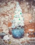 New year decorations. Christmas tree, cinnamon Stock Photo