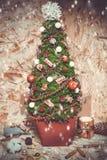 New year decorations. Christmas tree, cinnamon Royalty Free Stock Photos
