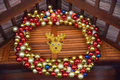 New Year decorations with colourfull balls and deer Stock Photography