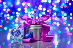 New Year decorations composition with fancy box Stock Images