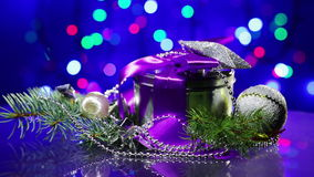 New Year decorations with fancy box rotating stock video footage