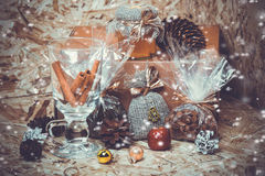 New year decorations. Honey, coffee, cones Royalty Free Stock Photography