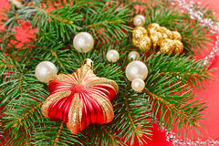 New Year decorations with spruce Royalty Free Stock Photos