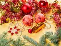 New Year decorations still life on golden Stock Image