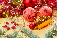 New Year decorations still life in red Royalty Free Stock Photo