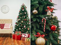 New Year decorations style tartan red gold stock photography