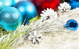 New year decorations on white beads background with balls and fi Stock Photography