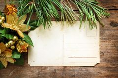 New year decorations on wooden background Royalty Free Stock Photo