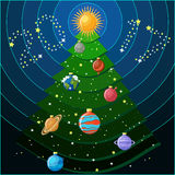New Year decorative greeting card with  Christmas tree and solar system planets. As Christmas balls and the text 2017 made of stars. Happy New year to the Stock Photos