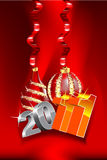 New year design. With 2011 digits and christmas decorations stock illustration