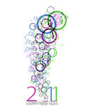 New year design. New year 2011 in colorful background design. Vector illustration royalty free illustration