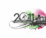 New year design. New year 2011 in colorful background design. Vector illustration Royalty Free Stock Photography