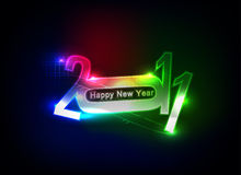 New year design. New year 2011 in colorful background design. Vector illustration Stock Photos